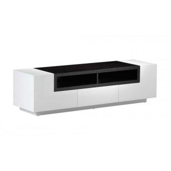 TV Stand 002 in White High Gloss & Dark Oak by J&M Furniture