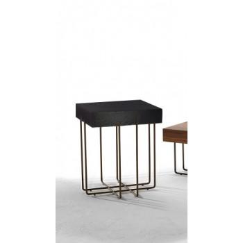 Cruz Side Table, Stone Bronze Metal Base, Dark Oak Wood Top