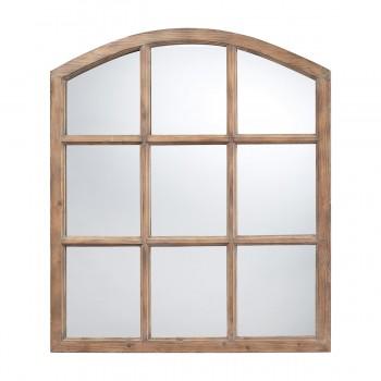 Union Faux Window Mirror In Natural Oak