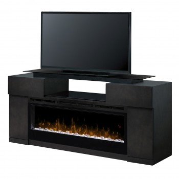 "Concord Media Console, Silver Charcoal Finish, Acrylic Ice 26"" Firebox"