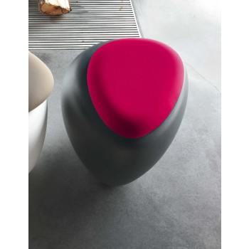 Ios Pouf, Anthracite Polyethylene Base, Cyclamen Red Orchidea Fabric