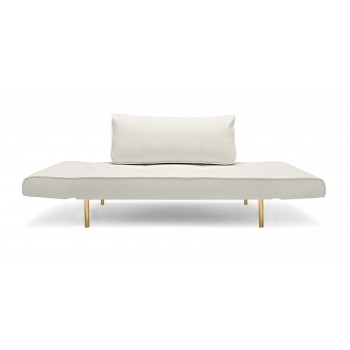 Zeal Deluxe Daybed, 588 Leather Look White PU + Brass Plated Steel Legs