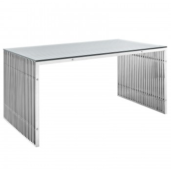 Gridiron Stainless Steel Desk A, Silver by Modway
