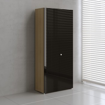 Mito 2-Door Storage MIT19, Light Sycamore + Black High Gloss