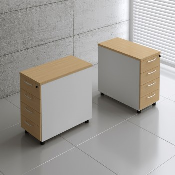 Basic KKT74 Fixed Pedestal w/4 Drawers, White + Beech