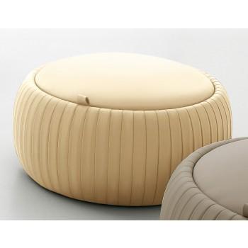 Plisse Small Pouf, Cream Eco-Leather