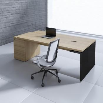 Mito Executive Desk w/Pedestal MIT4KD, Light Sycamore + Black High Gloss