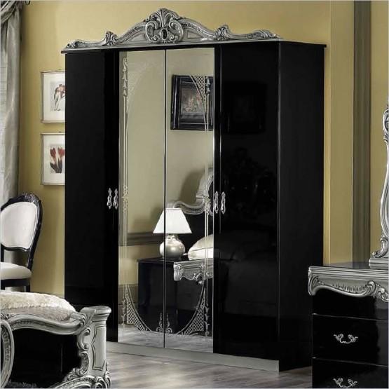 Barocco 4-Door Wardrobe, Black + Silver photo