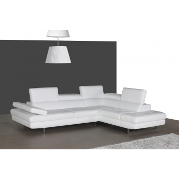A761 Italian Leather Sectional, Right Arm Chaise Facing, White by J&M Furniture
