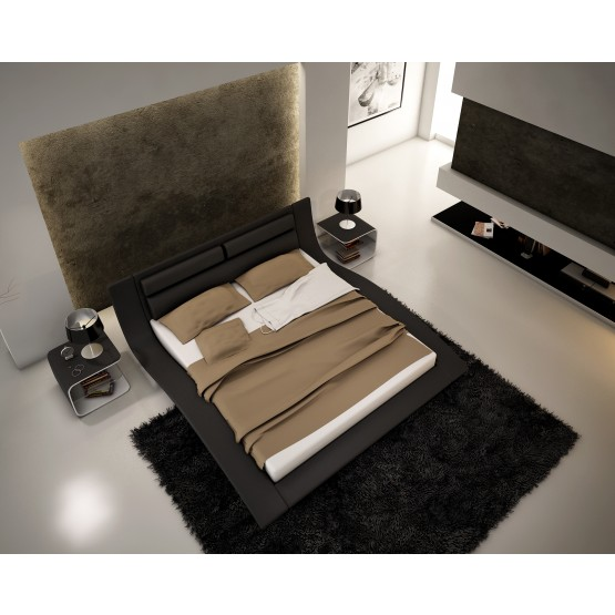 Wave Queen Size Bed, Black photo