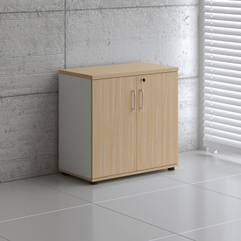 Basic K2104 2-Door Storage, White + Beech