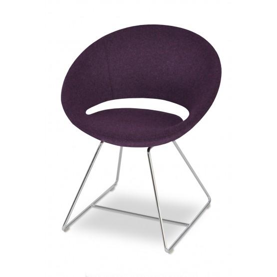 Crescent Wire Chair, Chrome, Deep Camira Maroon Wool photo
