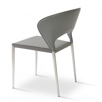 Prada Metal Stackable Chair, Grey Bonded Leather by SohoConcept Furniture