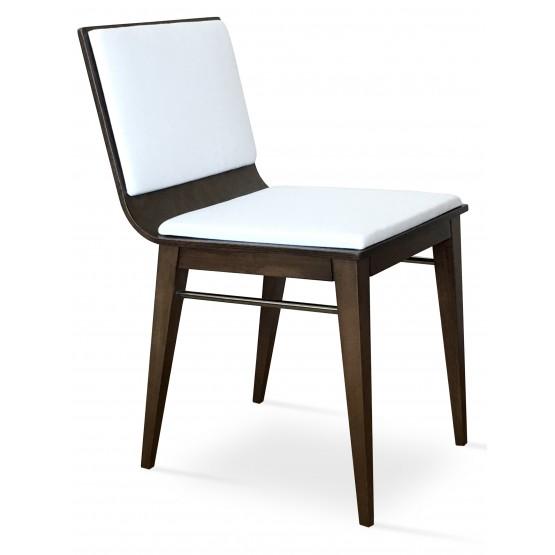 Corona Wood Dining Chair, Beech Wenge Finish, White Leatherette, Extra Pad photo