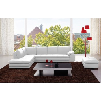 625 Italian Leather Sectional, Left Arm Chaise Facing, White by J&M Furniture