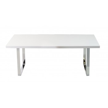 Bosphorus Dining Table, Large, Chrome, White Lacquer