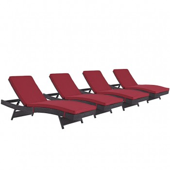 Convene Chaise Outdoor Patio, Set of 4, Espresso, Red by Modway