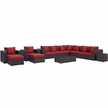 Convene 11 Piece Outdoor Patio Sectional Set, Espresso, Red by Modway