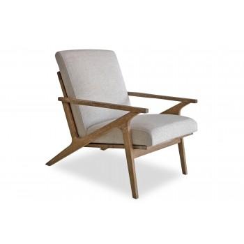 Adalyn Mid-Century Modern Lounge Chair, White Linen