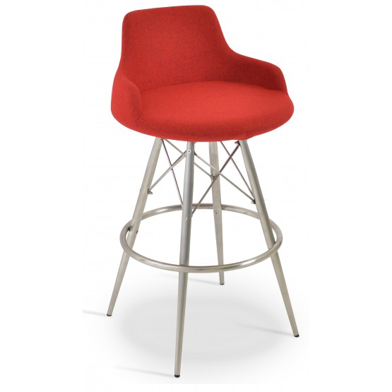 Dervish MW Counter Stool, Stainless Steel, Red Camira Wool photo