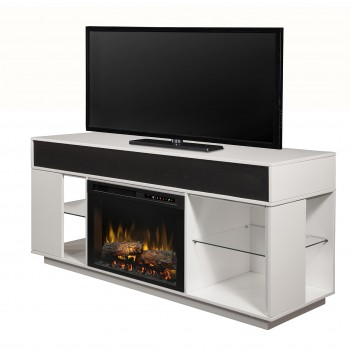 "Audio Flex Lex Media Console, White Finish, Realogs (XHD) 26"" Firebox"