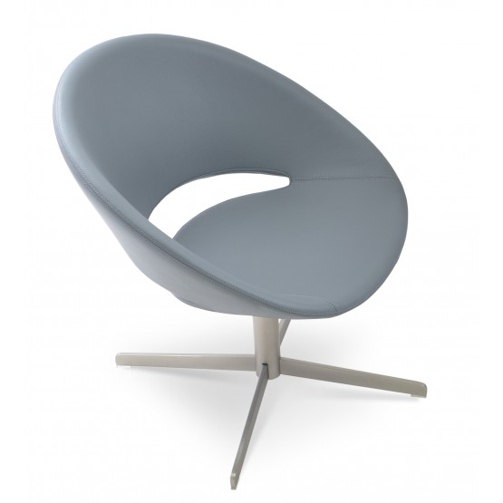 Crescent 4 Star Swivel Chair, Light Grey Leatherette, Large Seat photo