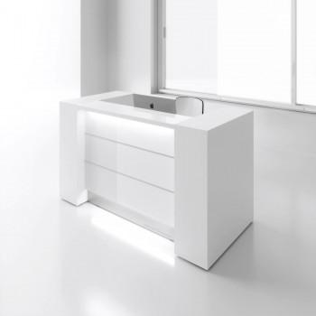 Valde LAV01L Reception Desk, High Gloss White