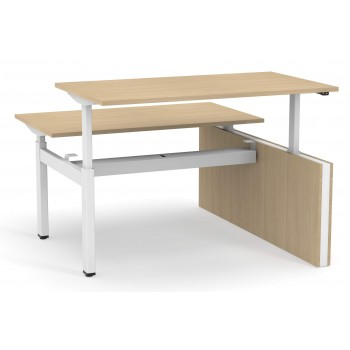 Motion Customizable Sit-Stand Office 2-Desk Bench with One Open Metal Leg