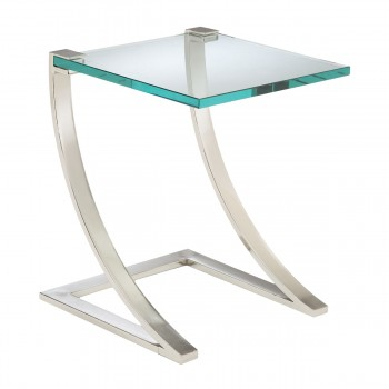 Uptown End Table In Polished Nickel And Clear Glass