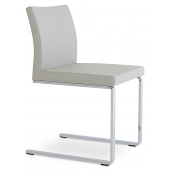 Aria Flat Dininng Chair, Light Grey Leatherette by SohoConcept Furniture