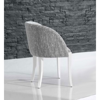 4390 Dining Arm Chair, White Base, Grey Upholstery