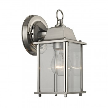 1 Light Outdoor Wall Sconce Lamp in Brushed Nickel