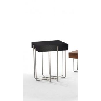 Cruz Side Table, Black Chrome Metal Base, Dark Oak Wood Top
