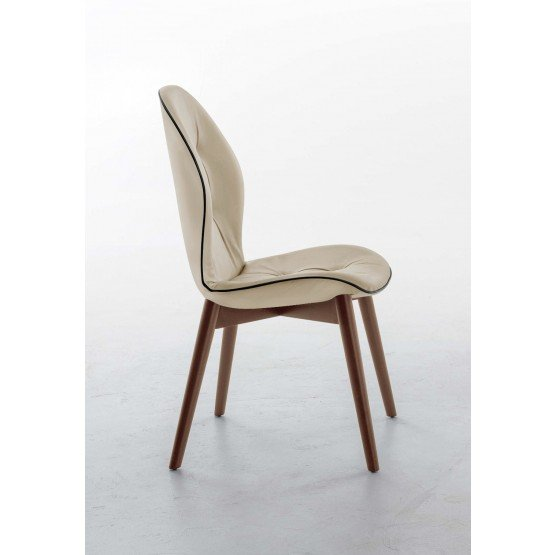 Sorrento Dining Chair, Canaletto Walnut Wood Base, Beige Eco-Leather Upholstery, Black Creasing photo