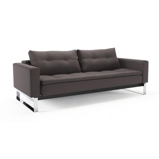 Dual Sofa Bed w/Arms, 555T Soft Grey Fabric + Chromed Legs photo