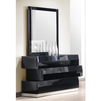 Milan Dresser + Mirror, Black by J&M Furniture