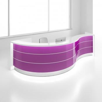 Valde LAV07L Reception Desk, High Gloss Fuchsia