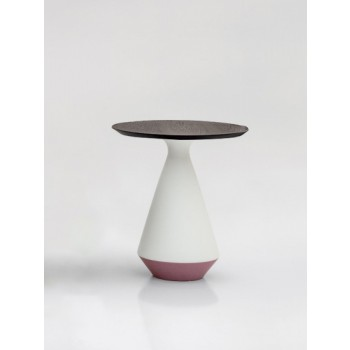 Amira Side Table, Matt White and Purple Ceramic Base, Heat-Treated Dark Oak Wood Top