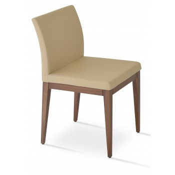 Aria Wood Dininng Chair, Solid Beech Walnut Color, Tan Leatherette by SohoConcept Furniture