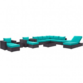 Convene 12 Piece Outdoor Patio Sectional Set, Espresso, Turquoise by Modway