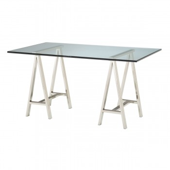 Architects Desk In Clear Glass And Stainless Steel