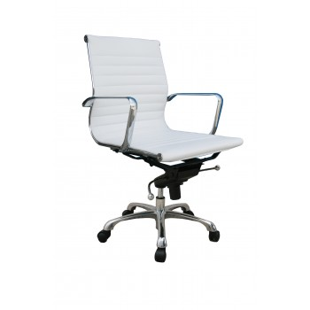 Comfy Low Back Office Chair, White by J&M Furniture