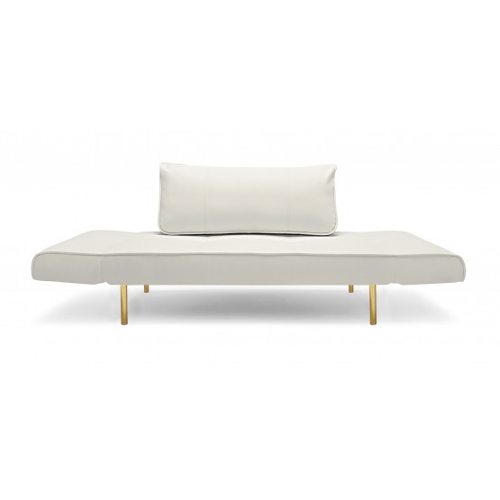 Zeal Deluxe Daybed, 588 Leather Look White PU + Brass Plated Steel Legs photo