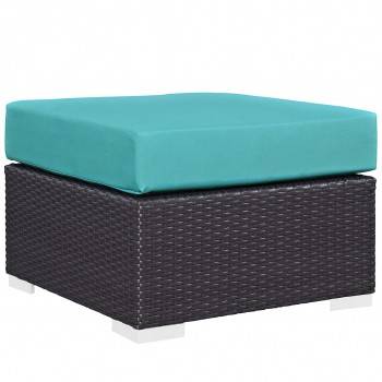 Convene Outdoor Patio Fabric Square Ottoman, Espresso, Turquoise by Modway