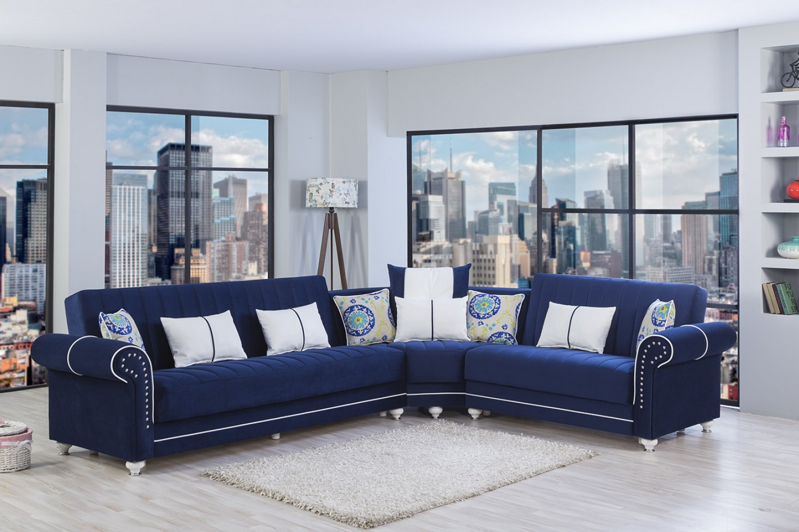 Picture of: Royal Home Sectional Sofa Riva Dark Blue Buy Online At Best Price