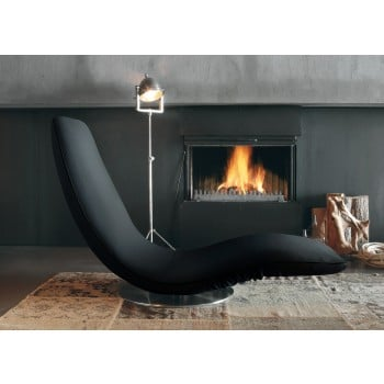 Ricciolo Chaise Lounge, Black Orchidea Fabric