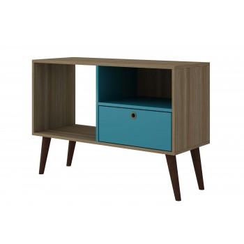 Bromma TV Stand, Oak + Aqua