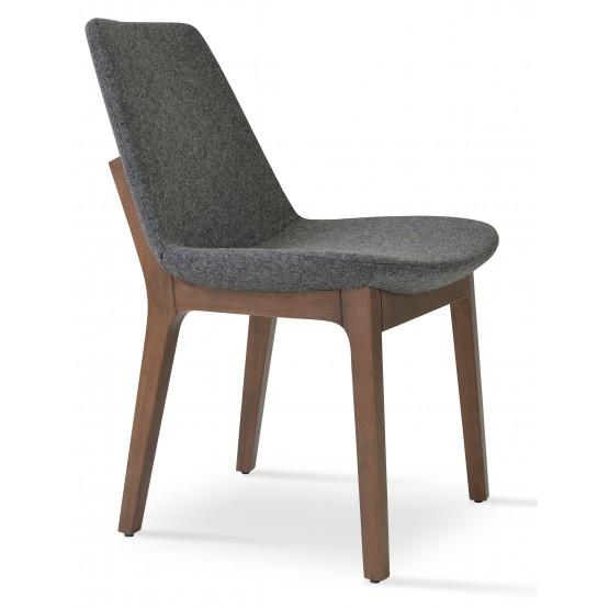 Eiffel Wood Chair, Solid Beech Walnut Color, Dark Grey Camira Wool photo