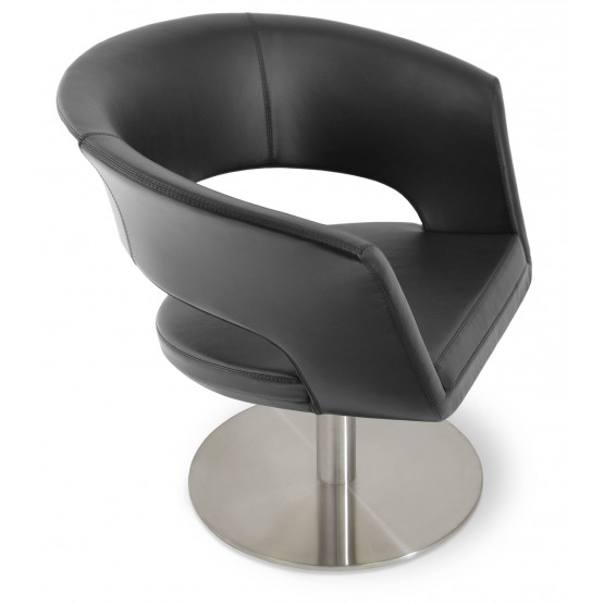 Ada Swivel Round Armchair, Black PPM photo