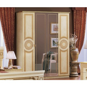 Aida 4-Door Wardrobe, Ivory + Gold